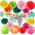 Hawaiian Luau Party Decorations Tropical Tiki Hibiscus Flowers and Flamingos Banner Large Artificial Tropical Leaves Banner Garland Tissue Paper Pom Poms Flowers for Summer Party Supplies