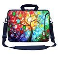 """Meffort Inc 17 17.3 inch Neoprene Laptop Bag Sleeve with Extra Side Pocket, Soft Carrying Handle & Removable Shoulder Strap for 16"""" to 17.3"""" Size Notebook Computer - Colorful Tree"""