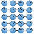 Round Retro Vintage Circle Tint Sunglasses Metal Colored Frame Mirror Lens OWL (round_43_gld_blue_12p, PC Lens)