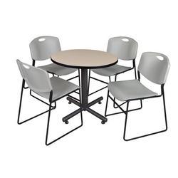 "Symple Stuff Marin 30"" L Round Wood Breakroom Table & Chair Set Wood/Metal in Brown, Size 29.0 H x 30.0 W x 30.0 D in | Wayfair"