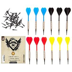 SHOT TAKER CO. EST. 2017 Soft Tip Darts Set  12 pc Bar Darts   50 Extra Black 2BA Tips   3 of Each Colour  Perfect Fun Darts for 4 Players on Electronic and Plastic Dartboard (16g Silver)