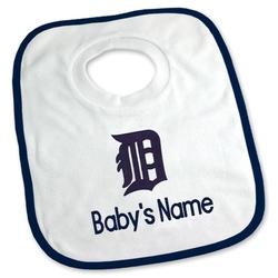 """Newborn & Infant White Detroit Tigers Personalized Bib"""
