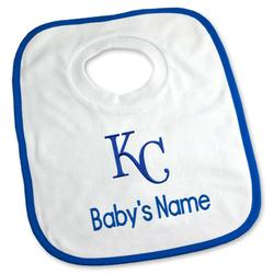 """Newborn & Infant White Kansas City Royals Personalized Bib"""