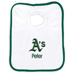 """Newborn & Infant White Oakland Athletics Personalized Bib"""