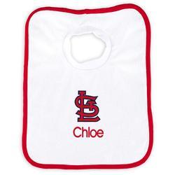 """Newborn & Infant White St. Louis Cardinals Personalized Bib"""