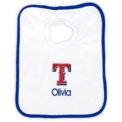 """Newborn & Infant White Texas Rangers Personalized Bib"""