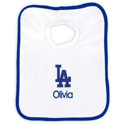 """Newborn & Infant White Los Angeles Dodgers Personalized Bib"""