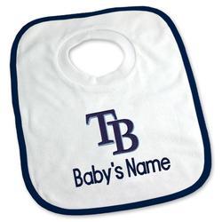 """Newborn & Infant White Tampa Bay Rays Personalized Bib"""