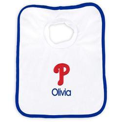 """Newborn & Infant White Philadelphia Phillies Personalized Bib"""
