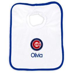 """Newborn & Infant White Chicago Cubs Personalized Bib"""