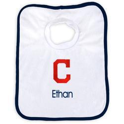 """Newborn & Infant White Cleveland Indians Personalized Bib"""
