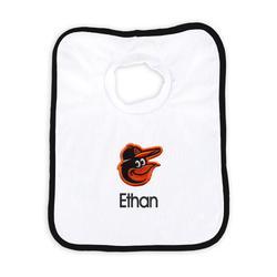 """""""Newborn & Infant White Baltimore Orioles Personalized Bib"""""""
