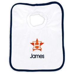 """Newborn & Infant White Houston Astros Personalized Bib"""