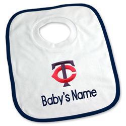 """Newborn & Infant White Minnesota Twins Personalized Bib"""