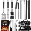 POLIGO 26 PCS BBQ Grill Accessories Stainless Steel BBQ Tools Grilling Tools Set with Storage Bag - Premium Grill Utensils Set for Father's Day Birthday Presents Ideal Grilling Gifts for Dad Men Women
