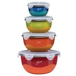 Fiesta Microwave Safe 8 Piece Mixing Bowl SetPolypropylene/Plastic in Blue/Brown/Gray, Size 5.125 H x 10.25 W in | Wayfair 9377S8FBDS