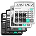 Calculator, Splaks 4 Pack Standard Functional Desktop Calculator Solar and AA Battery Dual Power Electronic Calculator with 12-Digit Large Display (2 Basic Black& 2 Updated Silver)