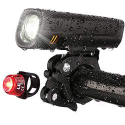 LE USB Rechargeable Bike Light Set, Super Bright Bicycle Headlight, Cycling Taillight, 300lm, 4 Lighting Modes, Front Rear Light Set