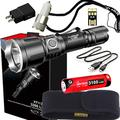 klarus XT11X Super Bundle Includes 3200 Lumen Tactical Rechargeable Flashlight, 18650 Battery, Holster, Lanyard, USB Charging Cable, USB Wall Adapter, USB Car Adapter, and Mini USB Light