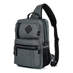 H HIKKER-LINK Canvas Messenger Bag Retro Sling Backpack Crossbody Satchel Gray