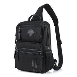 H HIKKER-LINK Canvas Messenger Bag Retro Sling Backpack Crossbody Satchel Black