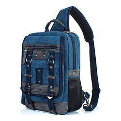 H HIKKER-LINK Canvas Messenger Bag Retro Sling Backpack Crossbody Satchel Dark Blue