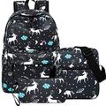 Unicorn Backpack for Teen Girls, Dreampark Student Bookbag for Girls Shoulder Bags and Pen Case Back to School (Black)