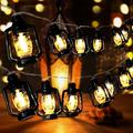 AceList 30 LED Black Lantern String Lights Mini Kerosene Lamp for Indoor Outdoor Patio Garden Holiday Home Ramadan Wedding Party Christmas Tree New Year Decorations(Warm White Light)