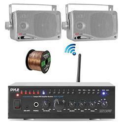 """Pyle Home WiFi Bluetooth Audio Amplifier Receiver, Pair 3.5"""" 200W 3-Way Weatherproof Mini Box Speakers, Enrock 100 Ft Speaker Wire (2 Speakers)"""