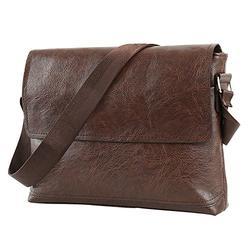 Windyus Mens Shoulder Bag Business Messenger Bag for Men Crossbody Bag, Leather Flap-Over Bag, One Size