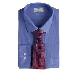 Men's Croft & Barrow Classic-Fit Stretch-Collar Dress Shirt and Patterned Tie Boxed Set, Size: Large-36/37, Med Blue