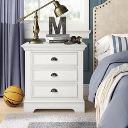 "Birch Lane™ Lovette 3 - Drawer Nightstand, Wood in White, Size 29""H X 28""W X 18""D | Wayfair 38BF62BB5F3948A5AFE516B6A54207F9"