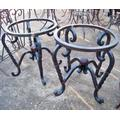 Wrought Iron End Tables w/ Scroll Legs, Round - Wrought Iron End Tables w/ Scroll Legs & Ball, Round. Heavy Wrought Iron End Table Bases with Scrolls, Sold Separately $450.00 each.