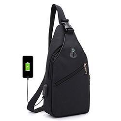 USB Charging Chest Shoulder Sling Bag Crossbody Backpack Multipurpose Hiking Casual Daypacks Lightweight for Men&Women (Black)