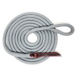 """Knotty Girlz Premium 9/16"""" Double Braid Polyester Yacht Rope Horse Lead Rope Natural Horsemanship w/Loop or Snap 12ft. or 14ft. Lengths (Grey, 12ft. with Hitched in NP Trigger Bull Snap)"""