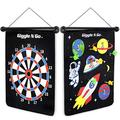 GIGGLE N GO Magnetic Dart Board Game - Our Reversible Rollup Kids Dart Board Set Includes 6 Safe Darts, 2 Dart Games and Easily Hangs Anywhere - Ultimate in Indoor Games (Space Theme)