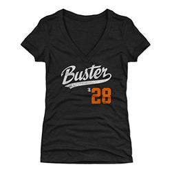 500 LEVEL Buster Posey Shirt for Women (Women's V-Neck, X-Large, Tri Black) - San Francisco Shirt for Women - Buster Posey Buster Players Weekend O WHT