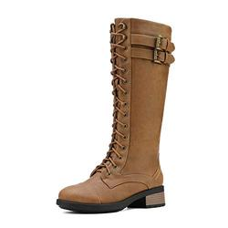 DREAM PAIRS Women's Camel Lace Up Faux Fur Faux Leather Pu Knee High Riding Combat Winter Boots Size 10 B(M) US Georgia