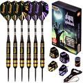 IgnatGames Steel Tip Darts Set - Professional Darts with Aluminum Shafts, Rubber O'Rings, and Extra Flights + Dart Sharpener + Innovative Case + Darts Guide (26g Dark Avenger)