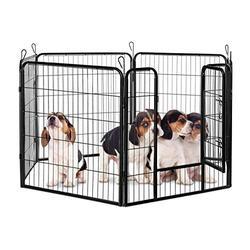 Parc pour chiots enclos pour chatons cage lapins intérieur ou extérieur métal HxlxP 80 x 240 x 80 cm, noir
