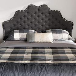 "Baxton Studio Hilda Modern and Contemporary Dark Grey Fabric Queen Size Headboard/Queen/Contemporary/Grey/Fabric Polyester 100%""/LVL/Foam"