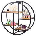 Wall Display Shelf, Iron Craft Round Floating Shelf Wall Display Rack Storage Unit with Wood Divider Home Garden Decor Industrial Style for Home Office 14.57 x 14.57 x 5.51inch / 37 x 37 x 14cm