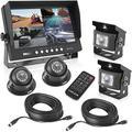 "Rear View Backup Camera System - DVR Parking Reverse Car Truck Vehicle Dual Rearview Back Up Kit w/ 9"" LCD Monitor, Night Vision, Tilt-Adjustable, Video Recorder, Universal Mount - Pyle PLCMTRDVR47"