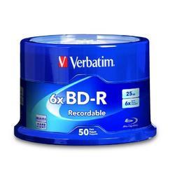 Verbatim BD-R 25 GB 6X with Branded Surface, 50-Disc Spindle 98397 by Verbatim