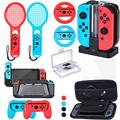 Zadii Accessories Bundle Compatible with Nintendo Switch, Accessories Kit with Tennis Racket, Steering Wheel, Joy-con Grip, 4-Channel Charging Dock, Carrying Case and Screen Protector