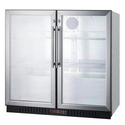 "Summit SCR7012DBCSS 35 1/2"" Bar Refrigerator - 2 Swinging Glass Doors, Stainless, 115v"