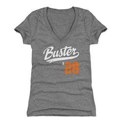 500 LEVEL Buster Posey Shirt for Women (Women's V-Neck, Medium, Tri Gray) - San Francisco Shirt for Women - Buster Posey Buster Players Weekend O WHT