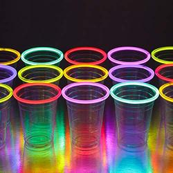 GLOWING PARTY CUPS 16 oz Plastic Clear Disposable Glow Stick Cup Neon Colors Kids Birthday Multi Color Sticks Light Up Glows In The Dark Night Event Favor Decorations Drink Supplies