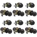 Porobrico 6 Pack Entry Door Knob with Double Cylinder Deadbolt Set Oil Rubbed Bronze Entry Door Lock Set with Key, Keyway Front Entry Handleset Lockset Gate Hardware