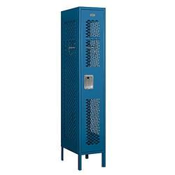 "Salsbury Industries 71158BL-A 12"" Single Tier Vented, 1 Wide x 5 Feet High x 18 Inches Deep, Assembled Metal Locker, Blue"